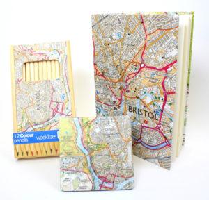Bristol map notebook, coaster and pencil box.